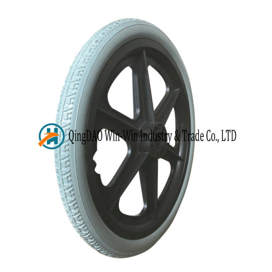16*1.75 Solid Urethane Foam Wheels for Wheelchairs with Caps